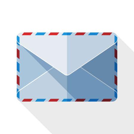 sealed: Sealed envelope icon with long shadow on white background Illustration