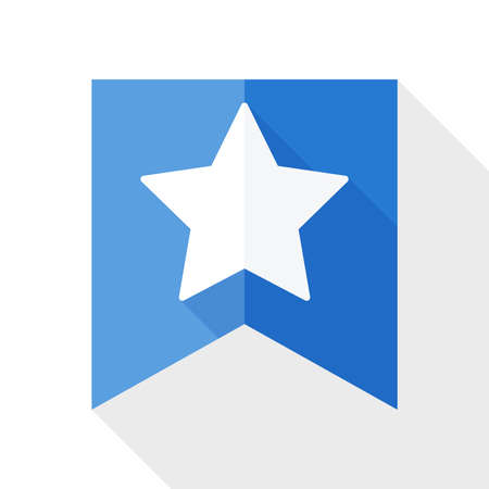 Star on the flag icon with long shadow on white background Illustration