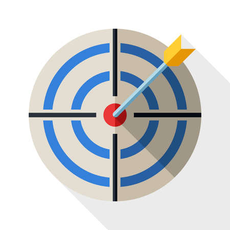 business competition: Target icon in flat style with dart and long shadow on white background