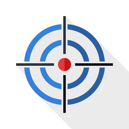 scope: Target icon with long shadow on white background