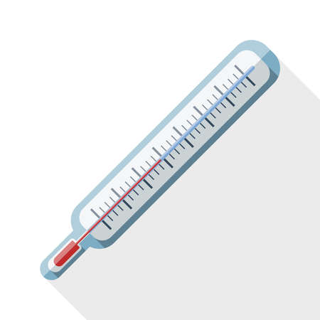 coldness: Thermometer flat icon with long shadow on white Illustration