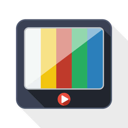 iptv: TV flat icon with long shadow on white background Illustration