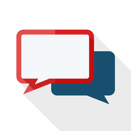 speech icon: Vector speech bubbles icon with long shadow on white background