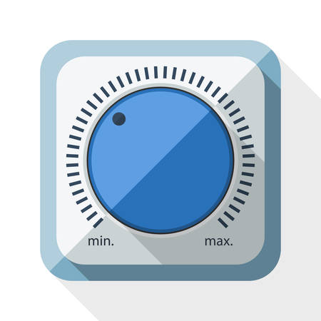 volume knob: Volume knob icon with long shadow on white background