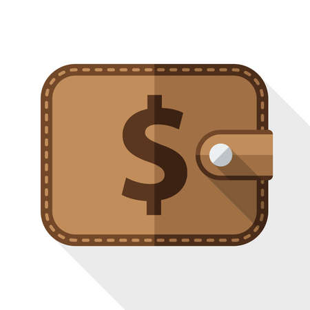 pocketbook: Wallet icon with long shadow on white background