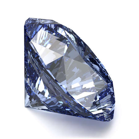 blue diamond: Blue Diamond on White Background. Realistic Vector Illustration