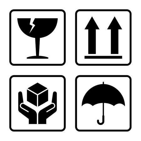 carton: Signos fr�giles vector aislados sobre fondo blanco Vectores