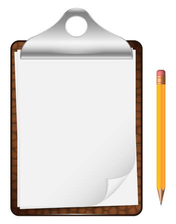 sheet of paper: Vector clipboard with an empty sheet of paper and pencil isolated on the white background Illustration