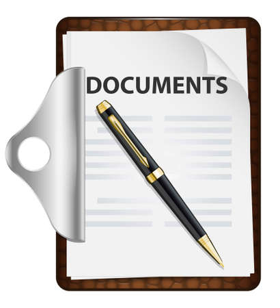 write letter: Clipboard with documents and pen. Vector icon