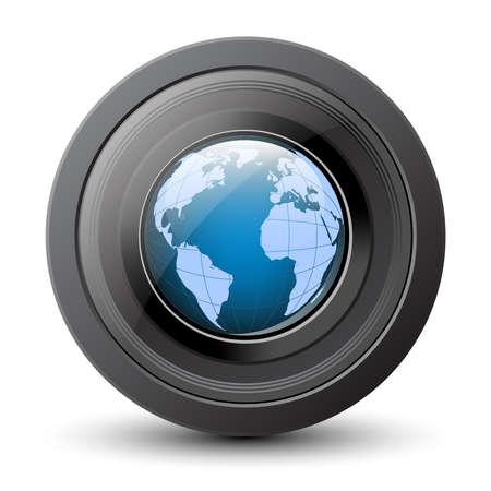 telephoto: Planet earth in the camera lens. Vector conceptual icon