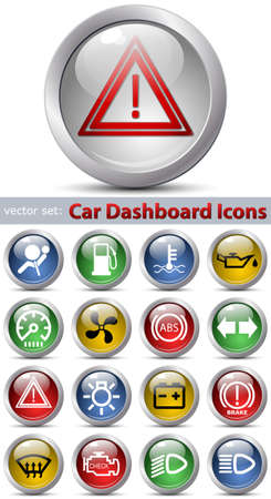 web portal: Car dashboard icons. Vector set