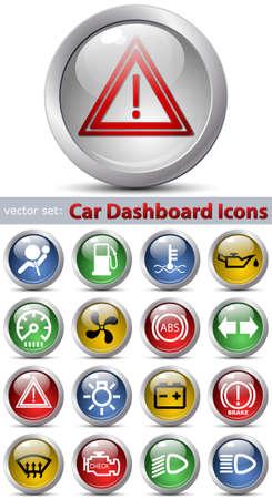Car dashboard icons. Vector set
