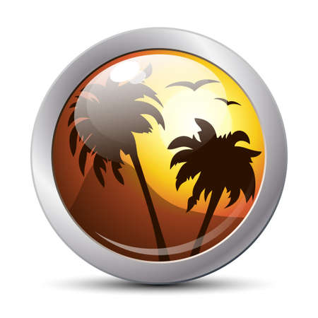 tropical sunset: Tropical sunset icon. Vector
