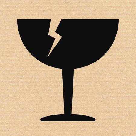 breakable: Breakable or fragile material packaging symbol on cardboard, vector illustration