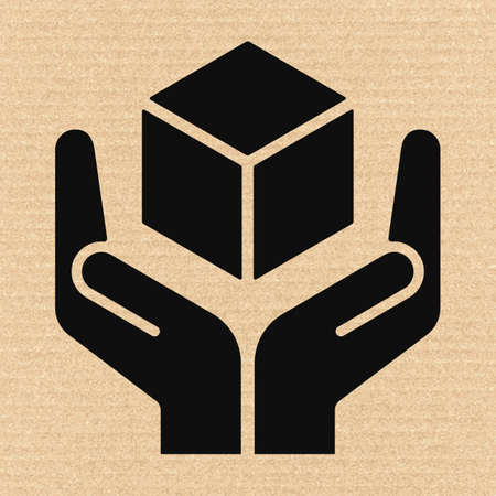 handle with care: Handle with care sign on cardboard, vector illustration