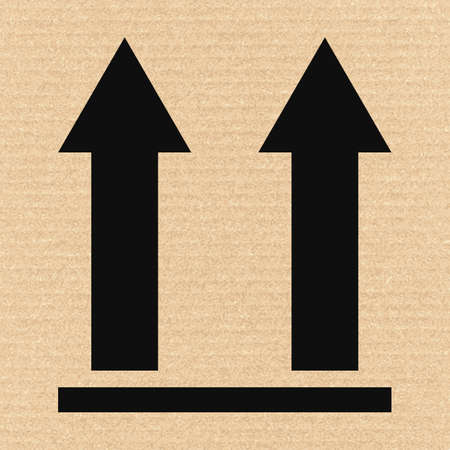 this: This side up packaging symbol on cardboard, vector illustration Illustration
