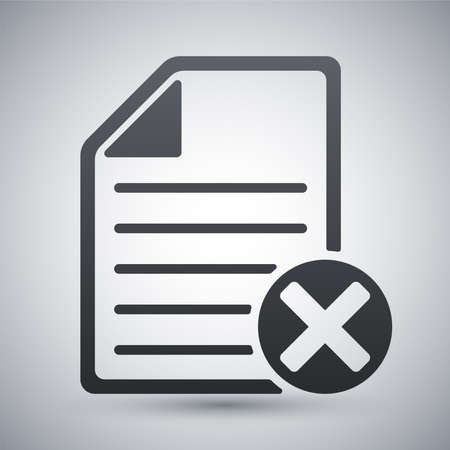 attestation: Vector document icon with delete or abort glyph