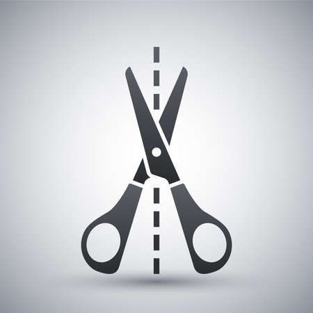 metal cutting: Vector scissors icon with cutting line