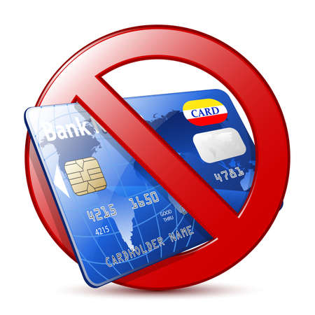 credit card payment: No credit card sign. Vector
