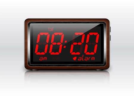 Retro stylized Digital Alarm Clock. Vector