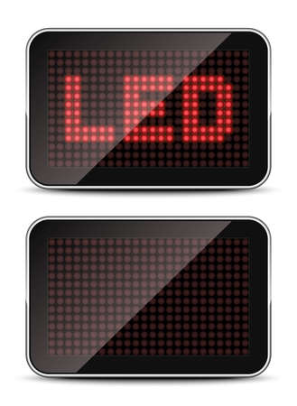 light emitting diode: Screen template with LED text and empty
