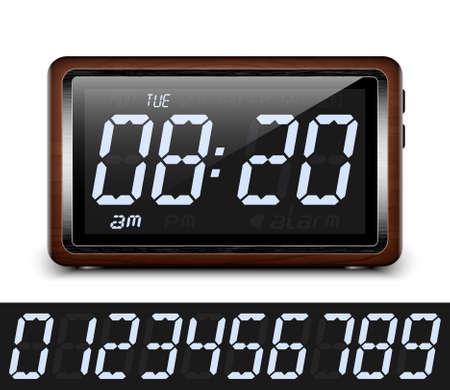 digital clock: Retro stylized Digital Alarm Clock. Vector Illustration