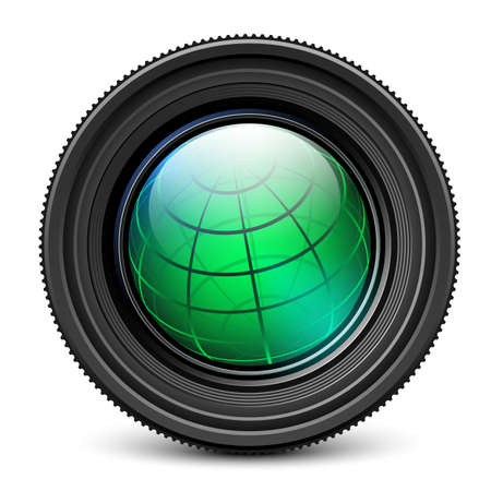 innen: Kamera-Objektiv mit Erdkugel im Inneren Illustration