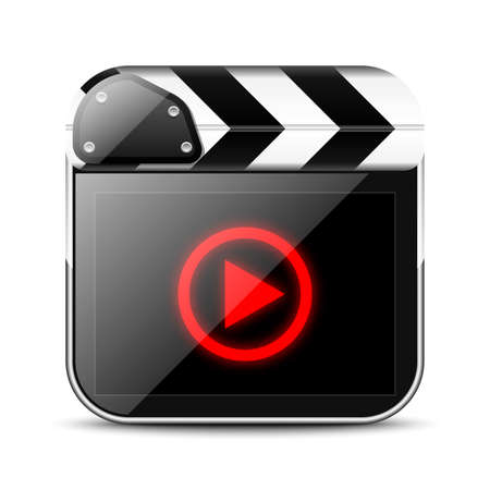 filming: Clap board icon with play sign