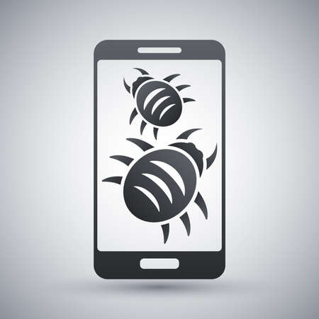 illustration infected: Smartphone is infected by malware, vector illustration