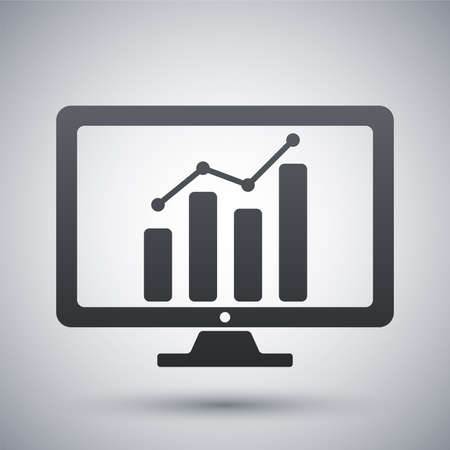 Vector monitor with business graph on the screen icon Illustration