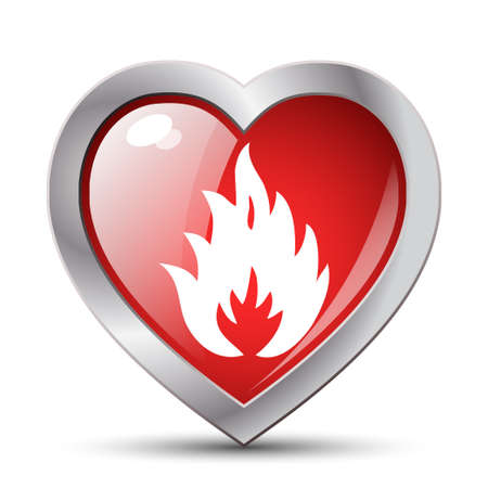 red love heart with flames: Fire in the heart. Vector illustration Illustration