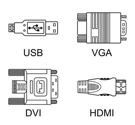 dvi: Cable connectors set, vector illustration