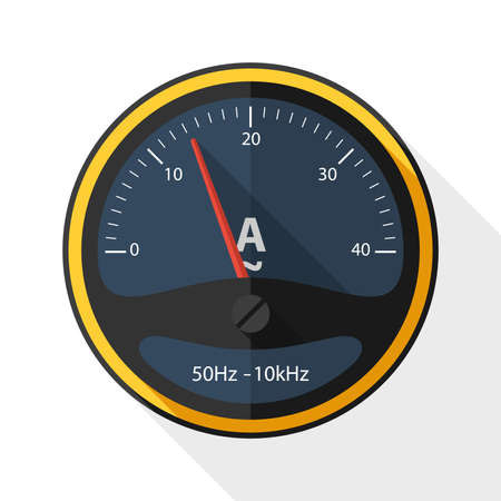 ammeter: Ammeter icon with long shadow on white background Illustration