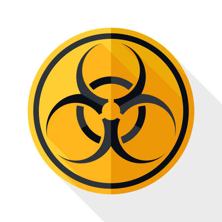 infectious waste: Biohazard icon with long shadow on white background