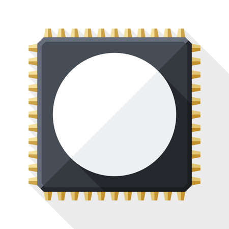 semiconductor: Chip icon with long shadow on white background