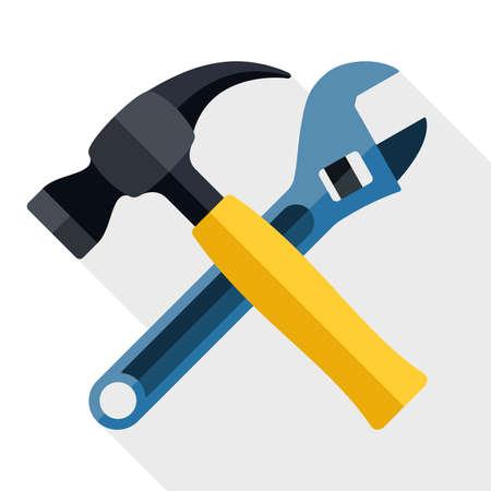 mantenimiento: Martillo y llave icono con una larga sombra sobre fondo blanco Vectores