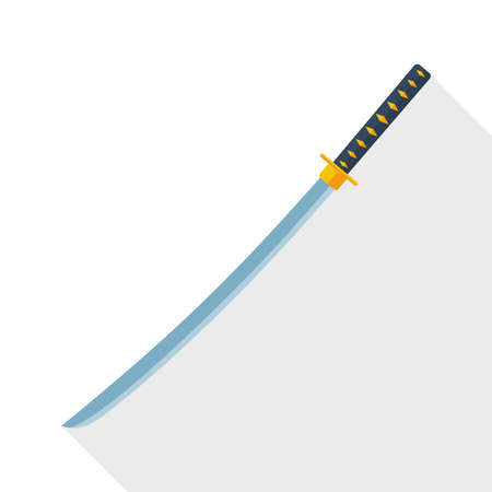 ninja ancient: Katana sword icon with long shadow on white background