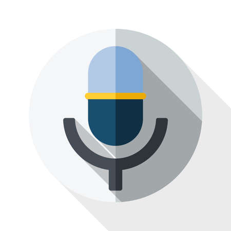 scenical: Vector microphone icon with long shadow on white background