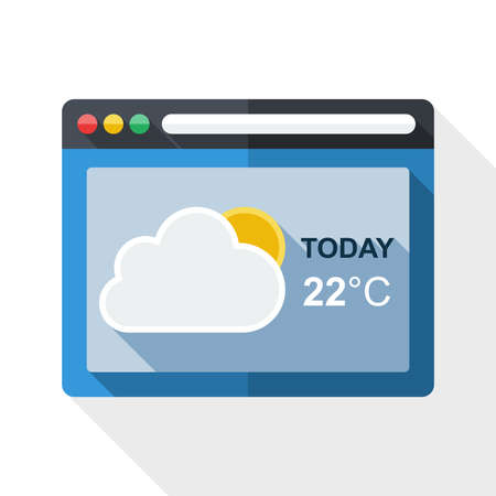 operating system: Weather forecast application icon with long shadow on white background