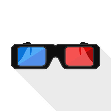 stereoscope: 3D glasses flat icon with long shadow on white background