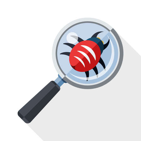 scanning: Antivirus scanning icon with long shadow on white background