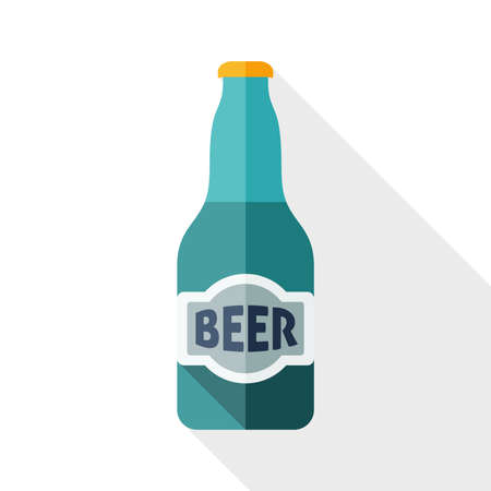 beer house: Beer bottle icon with long shadow on white background