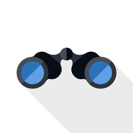 eyepiece: Binoculars icon with long shadow on white background Illustration