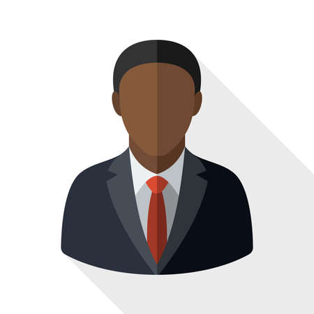 black male: Black male user icon with long shadow on white background