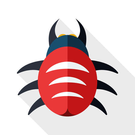 shield bug: Bug icon with long shadow on white background