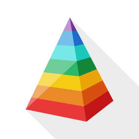 Color layered pyramid with long shadow on white background