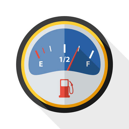 fuel gauge: Fuel gauge icon with long shadow on white background Illustration