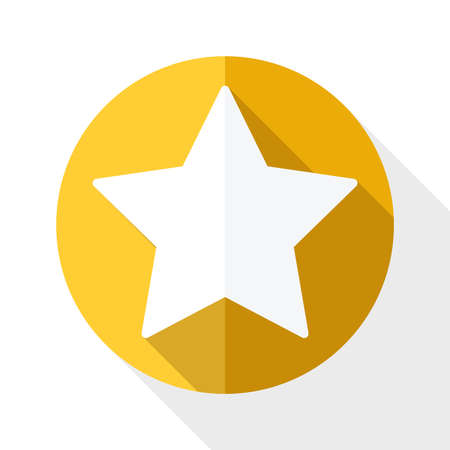 accreditation: Golden star icon with long shadow on white background