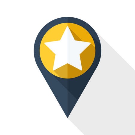 star icon: Map pointer with star and long shadow on white background
