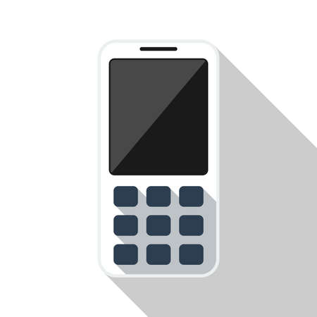 wap: Mobile phone flat icon with long shadow on white background